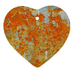 YELLOW RUSTY METAL Heart Ornament (2 Sides)