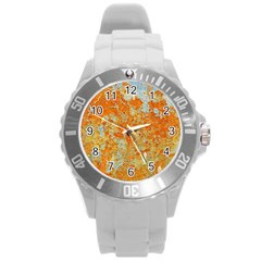 YELLOW RUSTY METAL Round Plastic Sport Watch (L)