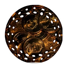 GOLD COINS 2 Round Filigree Ornament (2Side)