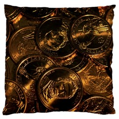 GOLD COINS 2 Large Cushion Cases (One Side)
