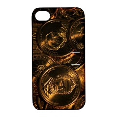 Gold Coins 2 Apple Iphone 4/4s Hardshell Case With Stand