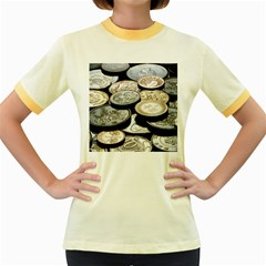 FOREIGN COINS Women s Fitted Ringer T-Shirts