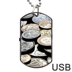 Foreign Coins Dog Tag Usb Flash (one Side)