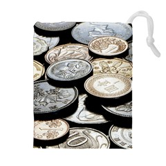 Foreign Coins Drawstring Pouches (extra Large)