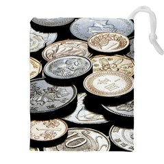 FOREIGN COINS Drawstring Pouches (XXL)