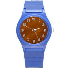 BRUSHED SUEDE TEXTURE Round Plastic Sport Watch (S)