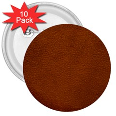 Brown Leather 3  Buttons (10 Pack)