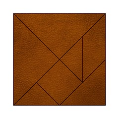 Brown Leather Acrylic Tangram Puzzle (6  X 6 )