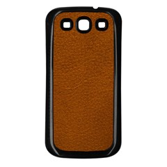 BROWN LEATHER Samsung Galaxy S3 Back Case (Black)
