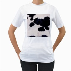 SPOTTED COW HIDE Women s T-Shirt (White) (Two Sided)