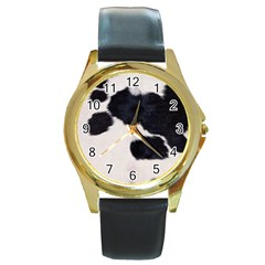 SPOTTED COW HIDE Round Gold Metal Watches