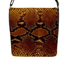 Snake Skin Flap Messenger Bag (l)