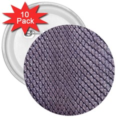 Silver Snake Skin 3  Buttons (10 Pack)