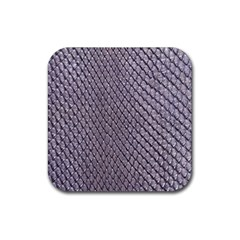 SILVER SNAKE SKIN Rubber Square Coaster (4 pack)