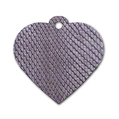 SILVER SNAKE SKIN Dog Tag Heart (One Side)