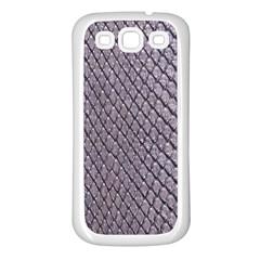 SILVER SNAKE SKIN Samsung Galaxy S3 Back Case (White)
