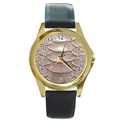 SCALY LEATHER Round Gold Metal Watches