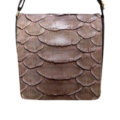 SCALY LEATHER Flap Messenger Bag (L)