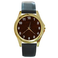 REDDISH BROWN FUR Round Gold Metal Watches