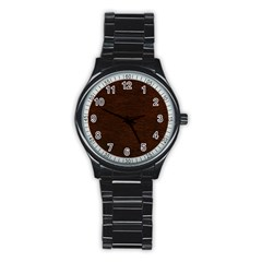 REDDISH BROWN FUR Stainless Steel Round Watches