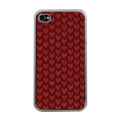 RED REPTILE SKIN Apple iPhone 4 Case (Clear)