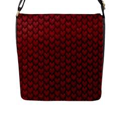 RED REPTILE SKIN Flap Messenger Bag (L)