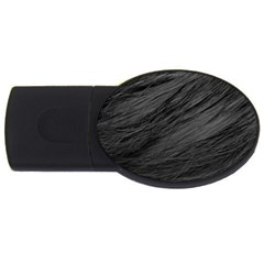 LONG HAIRED BLACK CAT FUR USB Flash Drive Oval (4 GB)