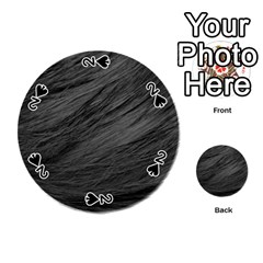 LONG HAIRED BLACK CAT FUR Playing Cards 54 (Round)