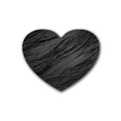 Long Haired Black Cat Fur Rubber Coaster (heart)