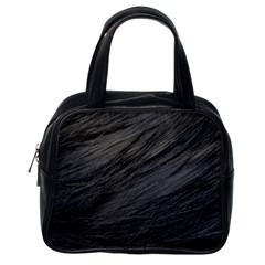 LONG HAIRED BLACK CAT FUR Classic Handbags (One Side)