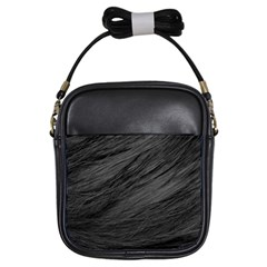 LONG HAIRED BLACK CAT FUR Girls Sling Bags