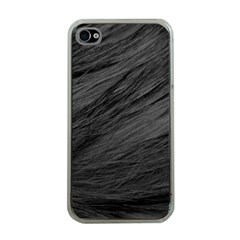 LONG HAIRED BLACK CAT FUR Apple iPhone 4 Case (Clear)