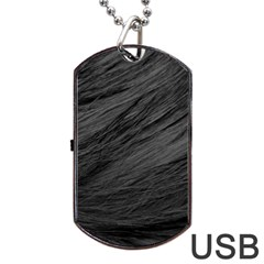 LONG HAIRED BLACK CAT FUR Dog Tag USB Flash (One Side)