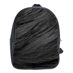 LONG HAIRED BLACK CAT FUR School Bags (XL)
