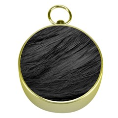 LONG HAIRED BLACK CAT FUR Gold Compasses