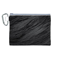 LONG HAIRED BLACK CAT FUR Canvas Cosmetic Bag (L)