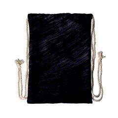 LONG HAIRED BLACK CAT FUR Drawstring Bag (Small)