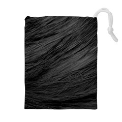 LONG HAIRED BLACK CAT FUR Drawstring Pouches (Extra Large)