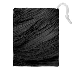 LONG HAIRED BLACK CAT FUR Drawstring Pouches (XXL)