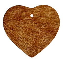 LIGHT BROWN FUR Heart Ornament (2 Sides)