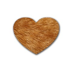 Light Brown Fur Rubber Coaster (heart)