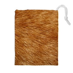 LIGHT BROWN FUR Drawstring Pouches (Extra Large)