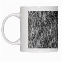 Grey Wolf Fur White Mugs