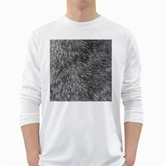 GREY WOLF FUR White Long Sleeve T-Shirts