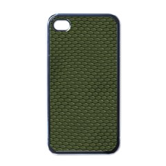 GREEN REPTILE SKIN Apple iPhone 4 Case (Black)