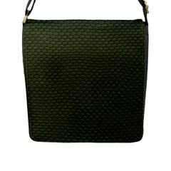 GREEN REPTILE SKIN Flap Messenger Bag (L)