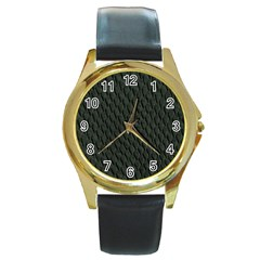 DARK GREEN SCALES Round Gold Metal Watches