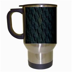 DARK GREEN SCALES Travel Mugs (White)