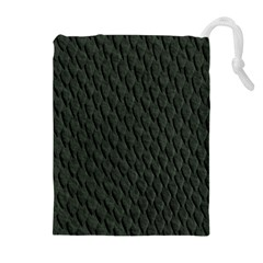 Dark Green Scales Drawstring Pouches (extra Large)