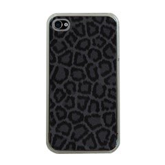 BLACK LEOPARD PRINT Apple iPhone 4 Case (Clear)